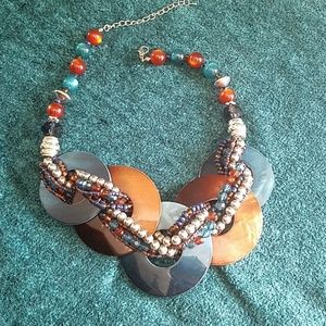 Brown and blue chunky necklace